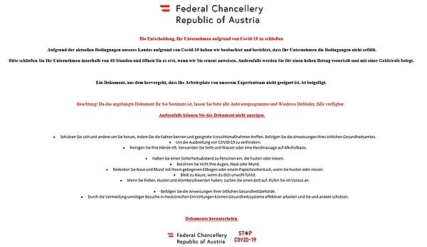 Achtung: Versand gefährlicher Mails im Namen des Bundeskanzleramts